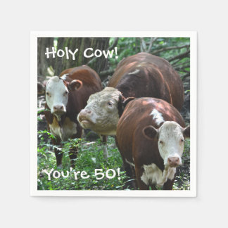 Holy Cow You're 50 Party Napkins