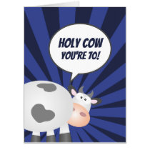 Holy Cow You're 70 Funny Cute Happy 70th Birthday Card