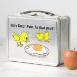 """Holy Crap! Pete is That You? Metal Lunch Box<br><div class=""""desc"""">Holy Crap! Pete,  is that you? Funny cartoon humor design. Two Cute yellow Chicks freaking out when they see a cooked egg on a plate. Great for Vegans and Vegetarians Humor.</div>"""