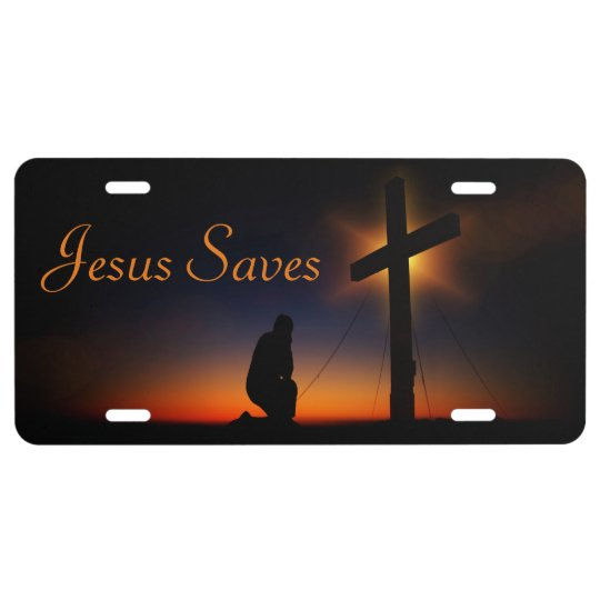 Holy Cross At Sunset Jesus Saves Personalize License Plate