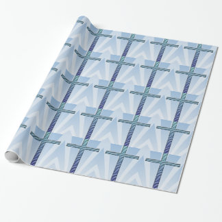 Holy Cross in Two-Tone Blue-Blue Ripples Wrapping Paper