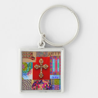 Holy Cross Jewelled patchwork Christmas Couture Silver-Colored Square Keychain