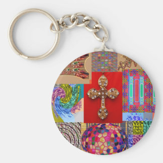 Holy Cross Jewelled patchwork Christmas Couture Basic Round Button Keychain