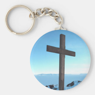 Holy Cross on a Snowy Mountain Top Basic Round Button Keychain