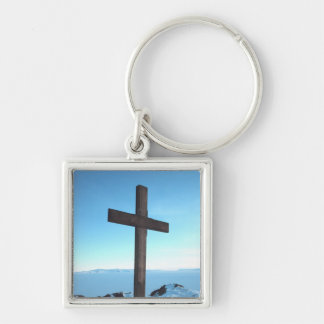 Holy Cross on a Snowy Mountain Top Silver-Colored Square Keychain