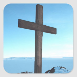 Holy Cross on a Snowy Mountain Top Square Sticker