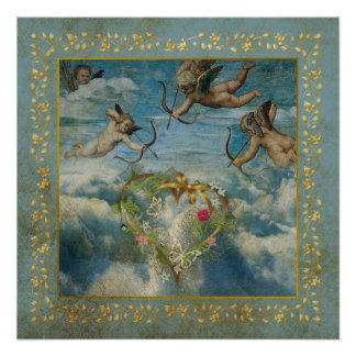 Holy Cupid Religious Angel Heart Aged Poster