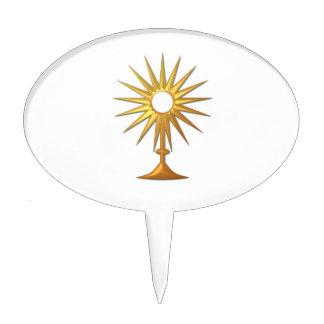 Holy Eucharist in golden Monstrance Cake Topper