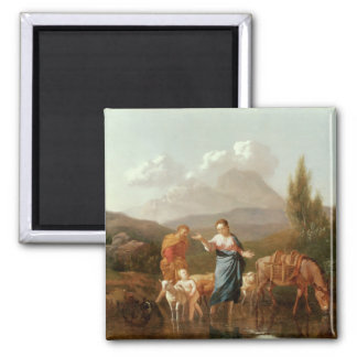 Holy family at a stream 2 inch square magnet