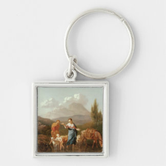 Holy family at a stream keychain