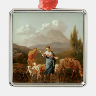 Holy family at a stream metal ornament