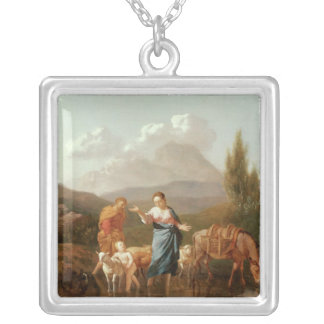 Holy family at a stream square pendant necklace