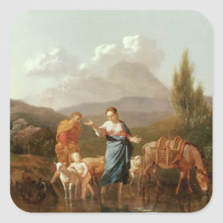Holy family at a stream square sticker