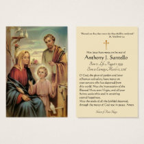 Holy Family Catholic Funeral Memorial Holy Card -