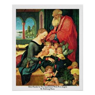 Holy Family In The Apartment With Five Angels Poster