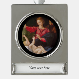Holy Family Madonna of Loreto Silver Plated Banner Ornament
