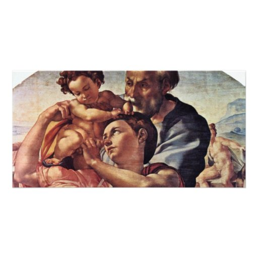 Holy Family Tondo Detail By Michelangelo Buonarrot Photo Card Template