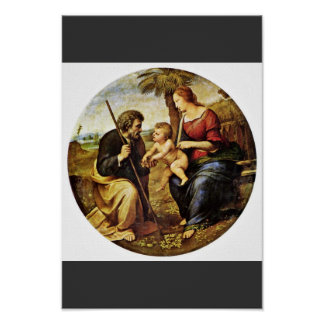 Holy Family Under A Palm Tree Tondo By Raffael Posters