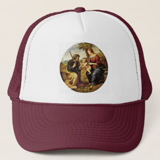 Holy Family Under A Palm Tree Tondo By Raffael Trucker Hat