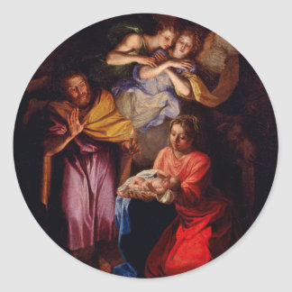 Holy Family with Angels by Coypel Classic Round Sticker