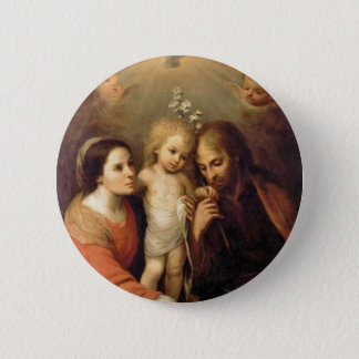 Holy Family with Cherubs by Gutierrez Button