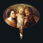 "Holy Family with Cherubs by Gutierrez Cake Topper<br><div class=""desc"">Vintage fine art depicting Christ Child,  Joseph and Mary with cherubs and the Holy Spirit (as a dove) above them.  Painting by Juan Simon Gutierrez.</div>"