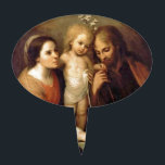 """Holy Family with Cherubs by Gutierrez Cake Topper<br><div class=""""desc"""">Vintage fine art depicting Christ Child,  Joseph and Mary with cherubs and the Holy Spirit (as a dove) above them.  Painting by Juan Simon Gutierrez.</div>"""