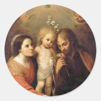 Holy Family with Cherubs by Gutierrez Classic Round Sticker