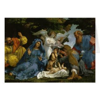 Holy Family with Saints and Angels Card
