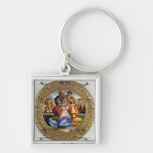 Holy Family with St. John (Doni Tondo), 1504-05 (o Silver-Colored Square Keychain