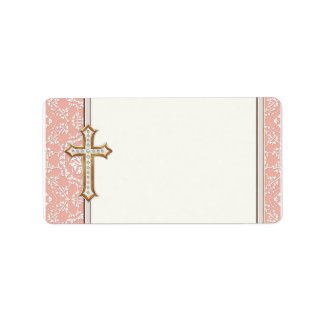 Holy First Communion Gold Golden Cross Lace Girl Address Label
