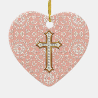 Holy First Communion Gold Golden Cross Lace Girl Ceramic Ornament