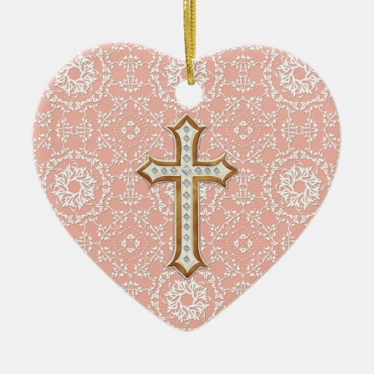 Cross Ornament For Girl Or Boy: Holy First Communion Gold Golden Cross Lace Girl Ceramic