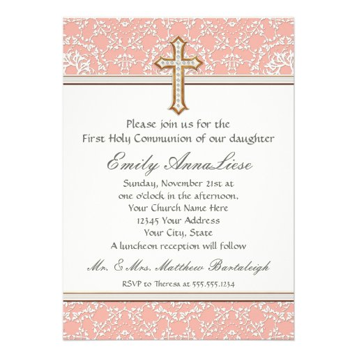 Holy First Communion Gold Golden Cross Lace Girl Custom Invitation