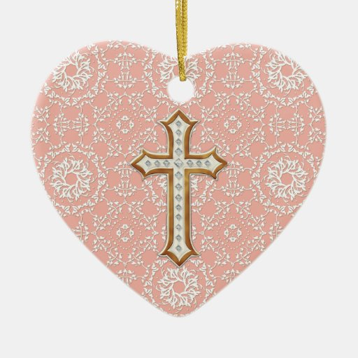 Holy First Communion Gold Golden Cross Lace Girl Double-Sided Heart Ceramic Christmas Ornament