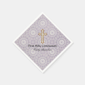Holy First Communion Gold Golden Cross Lace Girl Paper Napkin