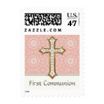 Holy First Communion Gold Golden Cross Lace Girl Postage Stamp