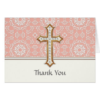 Holy First Communion Gold Golden Cross Lace Girl Stationery Note Card