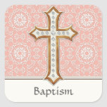 Holy First Communion Gold Golden Cross Lace Girl Square Sticker