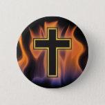 HOLY FLAMING FIRE CROSS! CHRISTIAN SPIRITUAL POWER PINBACK BUTTON