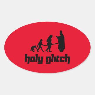 Holy Glitch Oval Sticker