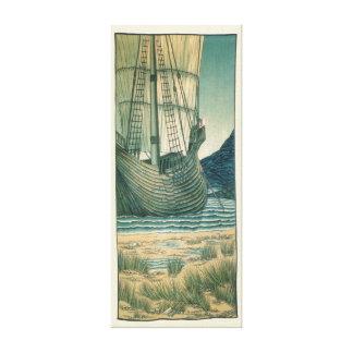 Holy Grail Sailing Ship in the Ocean Canvas Print
