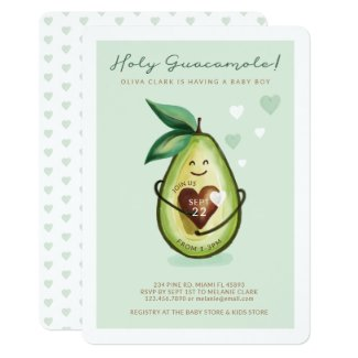 Holy Guacamole A Baby Boy Is On The Way Avocado Invitation
