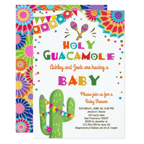 Holy Guacamole Fiesta Baby shower invite Mexican