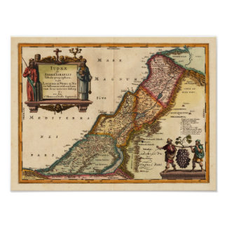 Holy Land Janssonius 1649 Reproduction Poster