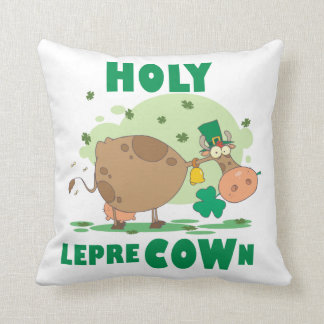 HOLY LepreCOWn T-shirts and Gifts Throw Pillow