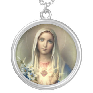 Holy Mary Mother of God Round Pendant Necklace