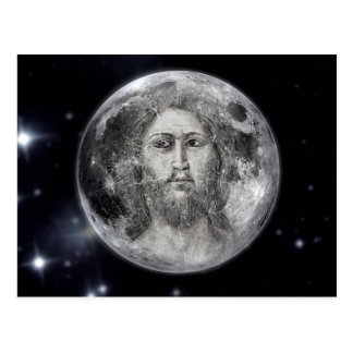 Holy Moon With Jesus Face Postcard