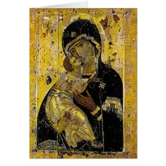 Holy Mother Mary Kyiv Madonna Icon Card Ukrainian