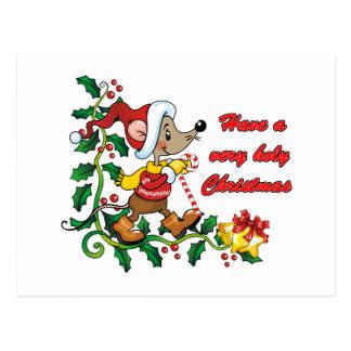 Holy Mousie Christmas Postcard